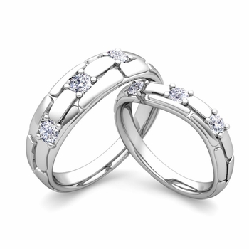 Matching Wedding Band: His and Hers Diamond Wedding Rings in 14k Gold