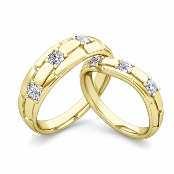 Matching Wedding Band: His and Hers Diamond Wedding Rings n 18k Gold