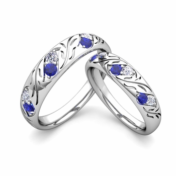 His and Hers Matching Wedding Band in 14k Gold: Diamond and Sapphire