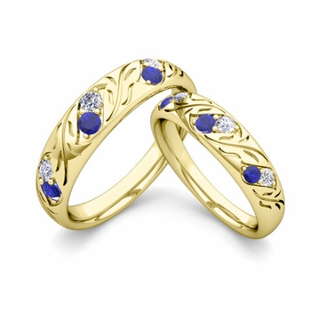 His and Hers Matching Wedding Band in 18k Gold: Diamond and Sapphire
