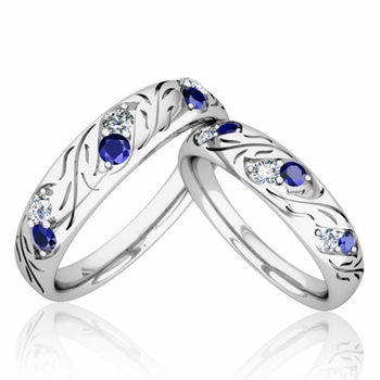 His and Hers Matching Wedding Band in Platinum: Diamond and Sapphire