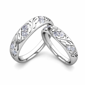 His and Hers Matching Diamond Wedding Band in Platinum