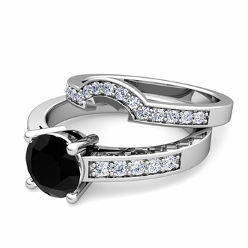 Pave Diamond and Solitaire Black Diamond Engagement Ring Bridal Set in 14k Gold, 7mm