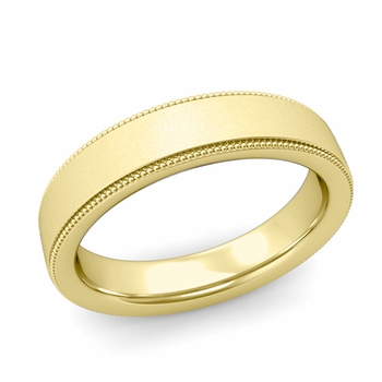Milgrain Flat Wedding Ring in 18k Gold Comfort Fit Band, Satin Finish, 5mm