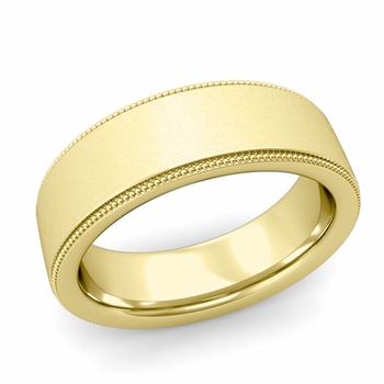 Milgrain Flat Wedding Ring in 18k Gold Comfort Fit Band, Satin Finish, 7mm