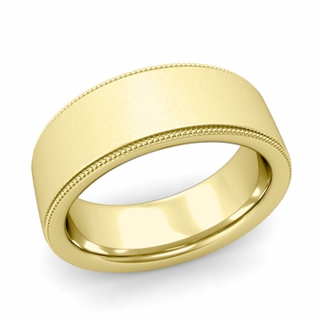 Milgrain Flat Wedding Ring in 18k Gold Comfort Fit Band, Satin Finish, 8mm