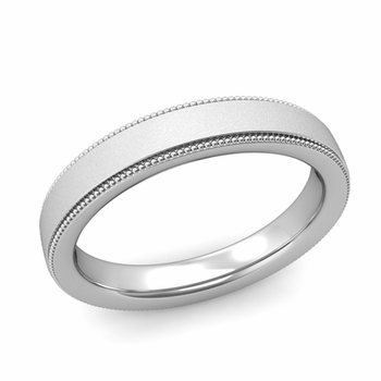 Milgrain Flat Wedding Ring in Platinum Comfort Fit Band, Satin Finish, 4mm