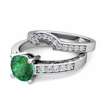Pave Diamond and Solitaire Emerald Engagement Ring Bridal Set in 14k Gold, 7mm