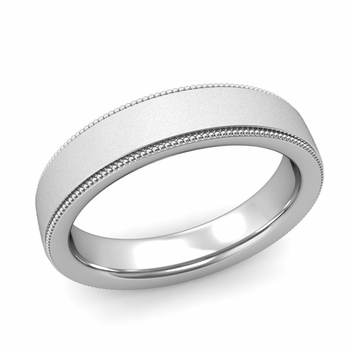 Milgrain Flat Wedding Ring in Platinum Comfort Fit Band, Satin Finish, 5mm