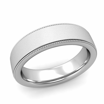 Milgrain Flat Wedding Ring in Platinum Comfort Fit Band, Satin Finish, 6mm