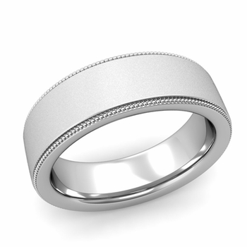 Milgrain Flat Wedding Ring in Platinum Comfort Fit Band, Satin Finish, 7mm