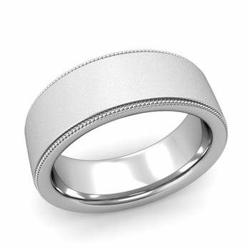 Milgrain Flat Wedding Ring in Platinum Comfort Fit Band, Satin Finish, 8mm