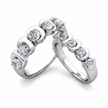 His and Hers Matching Wedding Band in Platinum 5 Stone Diamond Ring