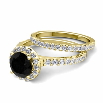 Bridal Set: Petite Pave Black and White Diamond Engagement Wedding Ring in 18k Gold, 7mm