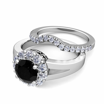 Black and White Diamond Halo Engagement Ring Bridal Set in 14k Gold, 6mm