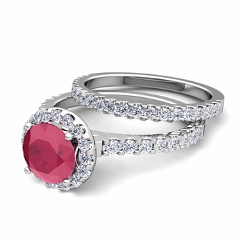 Bridal Set: Pave Diamond and Ruby Engagement Wedding Ring in Platinum, 6mm