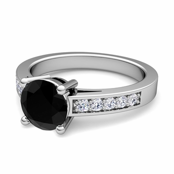Pave Diamond and Solitaire Black Diamond Engagement Ring in 14k Gold, 7mm