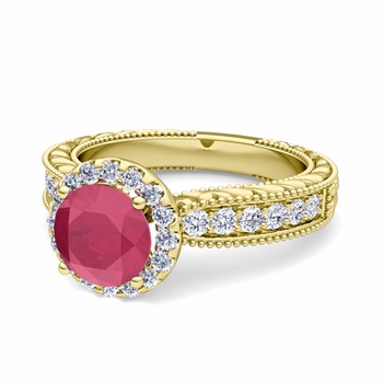 Vintage Inspired Diamond and Ruby Engagement Ring in 18k Gold, 6mm