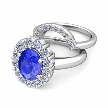 Diana Diamond and Ceylon Sapphire Engagement Ring Bridal Set in Platinum, 9x7mm