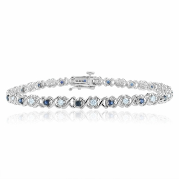 XOXO Sapphire and Diamond Bracelet in 14k White Gold Bracelet, 1.18 cttw, 7 inches