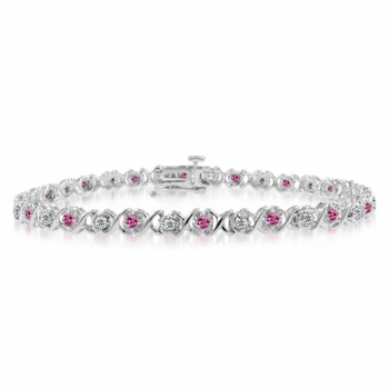 XOXO Pink Sapphire Diamond Bracelet in 14k White Gold Bracelet, 1.18 cttw, 7 inches
