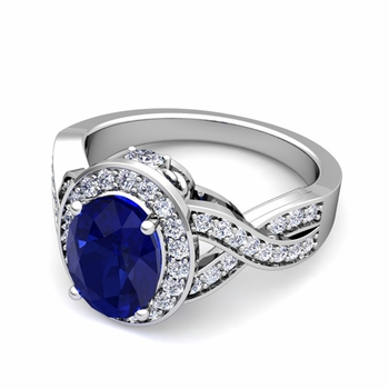 Infinity Diamond and Blue Sapphire Engagement Ring in Platinum, 7x5mm