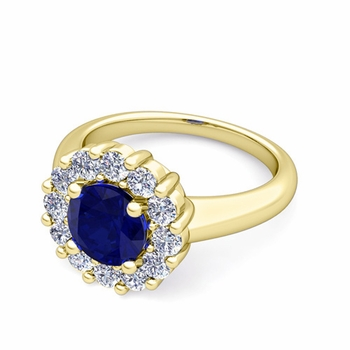 Blue Sapphire and Halo Diamond Engagement Ring in 18k Gold, 6mm