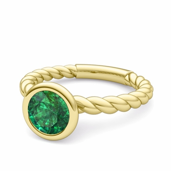 Bezel Set Solitaire Emerald Ring in 18k Gold Twisted Rope Band, 7mm