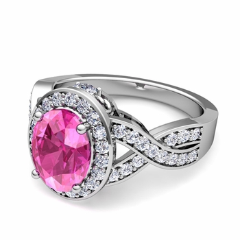 Infinity Diamond and Pink Sapphire Engagement Ring in 14k Gold, 7x5mm