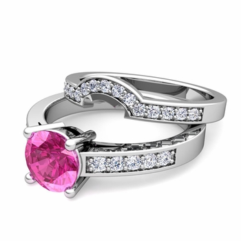 Pave Diamond and Solitaire Pink Sapphire Engagement Ring Bridal Set in 14k Gold, 7mm