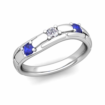 Organica 3 Stone Diamond Sapphire Wedding Ring in 14k Gold, 3mm