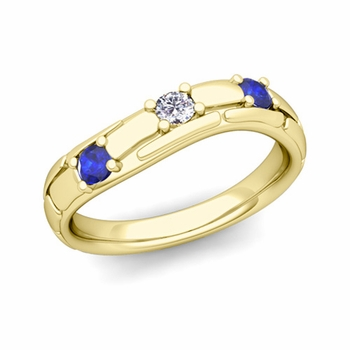 Organica 3 Stone Diamond Sapphire Wedding Ring in 18k Gold, 3mm