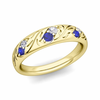Vintage Inspired Diamond and Sapphire Wedding Ring in 18k Gold 3.8mm