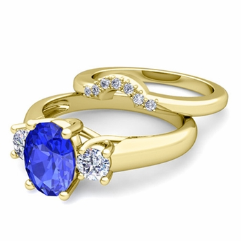 Classic Diamond and Ceylon Sapphire Three Stone Ring Bridal Set in 18k Gold, 8x6mm