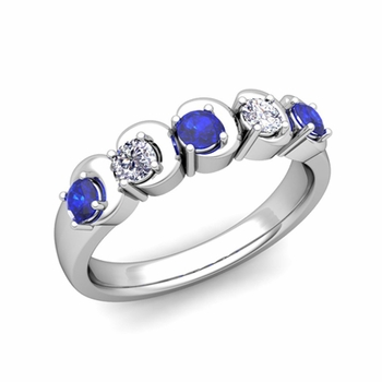 Organica 5 Stone Diamond and Sapphire Wedding Ring in 14k Gold, 3.5mm