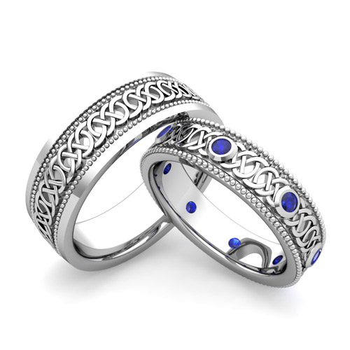 His Hers Celtic Wedding Band In 14k Gold Milgrain Sapphire