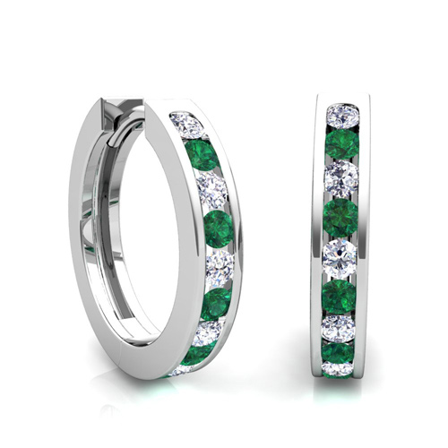 Channel Set Emerald And Diamond Hoop Earrings In 14k Gold