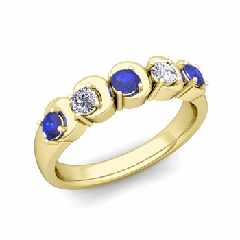 Organica 5 Stone Diamond and Sapphire Wedding Ring in 18k Gold, 3.5mm