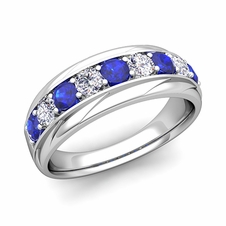 Brilliant Diamond and Sapphire Mens Wedding Band in 14k Gold, 7.5mm