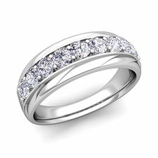 Brilliant Diamond Mens Wedding Ring Band in 14k Gold, 7.5mm