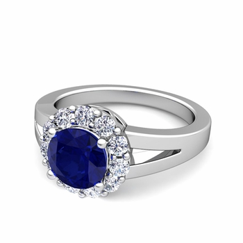 Radiant Diamond and Sapphire Halo Engagement Ring in 14k Gold, 7mm