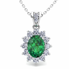 Diamond and Emerald Necklace in 14k Gold Halo Pendant 8x6mm