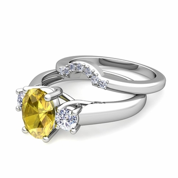 Classic Diamond and Yellow Sapphire Three Stone Ring Bridal Set in Platinum, 7x5mm
