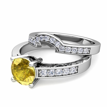 Pave Diamond and Solitaire Yellow Sapphire Engagement Ring Bridal Set in 14k Gold, 7mm