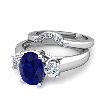 Classic Diamond and Sapphire Three Stone Ring Bridal Set in 14k Gold, 7x5mm