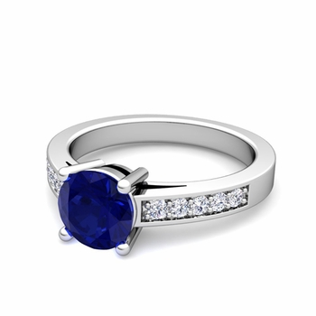 Pave Diamond and Solitaire Sapphire Engagement Ring in 14k Gold, 7mm