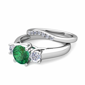 Trellis Diamond and Emerald Three Stone Ring Bridal Set in 14k Gold, 7mm
