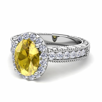 Vintage Inspired Diamond and Yellow Sapphire Engagement Ring in Platinum, 7x5mm
