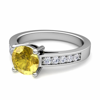 Pave Diamond and Solitaire Yellow Sapphire Engagement Ring in Platinum, 6mm