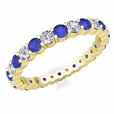 Pave Diamond and Sapphire Eternity Band in 18k Gold